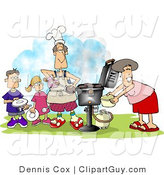 Clip Art of a Family Outside, Cooking at a BBQ by Djart