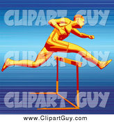 December 30th, 2014: Clip Art of a Fast Athlete Racer Sprinting and Leaping over a Hurdle on a Track, Symbolizing Speed and Endurance by Tonis Pan