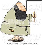 Clip Art of a Fat Bearded Man Holding a Blank Advertising Sign by Djart