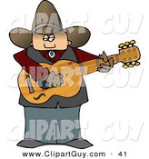 Clip Art of a Fat Country Cowboy Playing an Acoustic Guitar by Djart