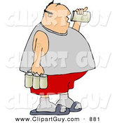 Clip Art of a Fat Man Drinking a Can of Beer from a Six Pack by Djart