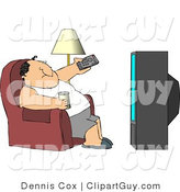 Clip Art of a Fat Man Sitting on a Couch, Channel Surfing the TV, and Drinking Beer by Djart