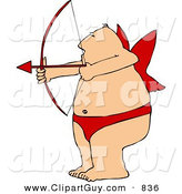 Clip Art of a Fat Man Wearing Valentine Cupid Costume While Aiming a Bow an Arrow by Djart
