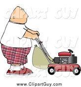 Clip Art of a Fat White Bald Man Mowing Lawn by Djart