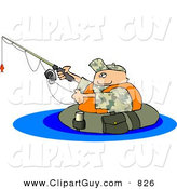 Clip Art of a Float Innter Tube Fisherman Fishing in a Lake by Djart