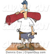 Clip Art of a Floor Worker Man Installing New Red Carpet in a House by Djart