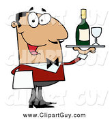 May 18th, 2015: Clip Art of a Friendly Hispanic Male Waiter Serving Wine by Hit Toon