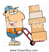 Clip Art of a Friendly White Delivery Man Using a Dolly to Move Boxes by Hit Toon