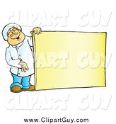 Clip Art of a Friendly White Male Chef Holding a Blank Sign Board by Snowy
