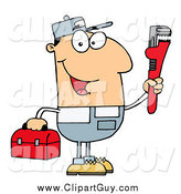 Clip Art of a Friendly White Plumber Man Carrying a Wrench and Tool Box by Hit Toon