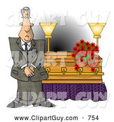 Clip Art of a Funeral Director Man Standing Beside a Casket by Djart
