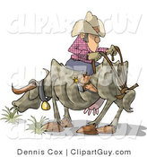 Clip Art of a Funny Cowboy Riding a Cow Backwards by Djart
