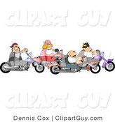 Clip Art of a Gang of Biker Men and Woman Riding Motorcycles Together As a Group by Djart