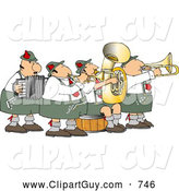 Clip Art of a German Band Playing Musical Instruments Together at a Performance by Djart