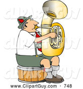 Clip Art of a German Tuba Player Practicing by Himself for a Band by Djart