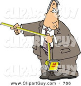 Clip Art of a Goofy Businessman Using a Self-retracting Pocket Tape Measure by Djart