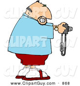 Clip Art of a Grinning Male Tourist Taking a Picture with His Digital Camera by Djart