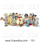 Clip Art of a Group of Adults and Children Wearing Halloween Costumes on White by Djart
