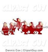 Clip Art of a Group of Devil Men with Pitchforks by Djart