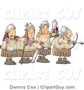 Clip Art of a Group of Four Roman Soldier Armed with Weapons and Ready for Battle by Djart