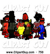 Clip Art of a Group of Male and Female Halloween Trick-or-treaters Standing Together by Djart