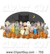 July 1st, 2013: Clip Art of a Group of Nighttime Halloween Trick-or-Treaters Wearing Costumes and Standing Together As a Group by Djart