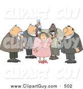 Clip Art of a Group of Obese Men and a Woman Drinking Wine at a Party by Djart