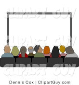 Clip Art of a Group of People Sitting in Their Seats at the Movie Theatre by Djart