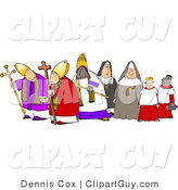 Clip Art of a Group of Religious Nuns and Bishops on a White Background by Djart