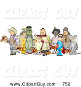 Clip Art of a Halloween Trick-or-treaters Standing Together As a Group in Their Costumes, on White by Djart