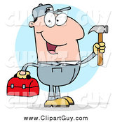 Clip Art of a Handy Man Holding a Hammer and Tool Box by Hit Toon