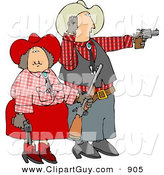 Clip Art of a Happy Cowboy and Cowgirl Couple Target Practicing with Pistols and a Rifle by Djart