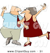 Clip Art of a Happy Man and Woman, Husband and Wife Dancing Together on a Dance Floor by Djart