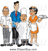 Clip Art of a Happy Wait Staff by David Rey