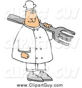 Clip Art of a Happy White Male Chef Carrying a Large Fork over His Shoulder by Djart
