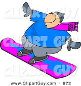 Clip Art of a Happy White Man Snowboarding down a Hill Covered with Snow During the Winter Season by Djart