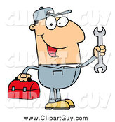 Clip Art of a Happy White Mechanic Man with a Tool Box and Wrench by Hit Toon