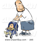 Clip Art of a Happy White Single Father Pushing His Baby Boy in a Stroller by Djart