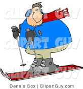 Clip Art of a Heavy Man Skiing in the Snow down a Winter Ski Slope Covered with Snow by Djart