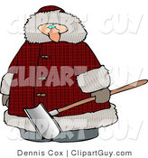 Clip Art of a Heavyset Man Wearing a Big Winter Coat and Holding a Snow Shovel by Djart