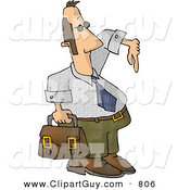 Clip Art of a Homie G Businessman Carrying a Briefcase and Gesturing Wazzup with His Hand on White by Djart