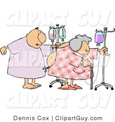 Clip Art of a Hospitalized Elderly Man and Woman Walking with IV Drip Lines in a Hospital by Djart