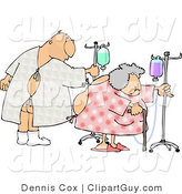 Clip Art of a Hospitalized Man and Woman Walking Around with an IV Drip by Djart