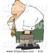 Clip Art of a Hot Caucasian Businessman Loosening up the Tie Around His Neck by Djart