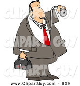Clip Art of a House Call Caucasian Doctor with a Medical Bag and Stethoscope by Djart
