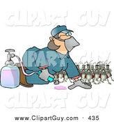 Clip Art of a Humorous Bugs Watching a Pest Control Exterminator Woman Test a Chemical Pesticide Substance by Dennis Cox