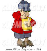 Clip Art of a Hungry Woodsman Eating Popcorn from a Bag by Djart