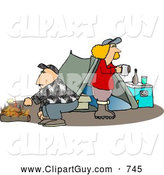 Clip Art of a Husband and Wife Camping Together Alone in the Woods by Djart