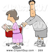 Clip Art of a Husband and Wife Grocery Shopping TogetherHusband and Wife Grocery Shopping Together by Djart