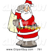 Clip Art of a Lost Santa Clause Holding a Map and Looking for Directions by Djart